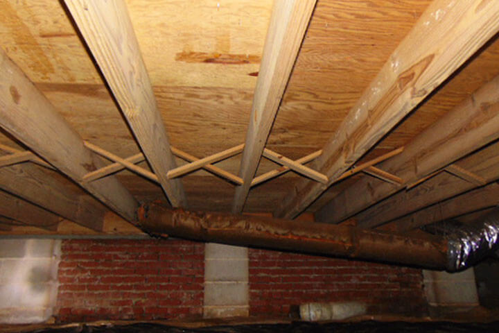 spraying for mold on floor joists